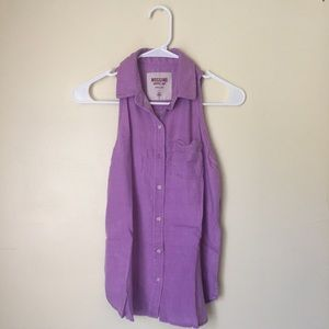 Lavender Sleeveless Button Up